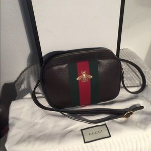 Authentic brown leather green/red striped bag